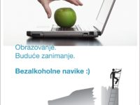 conceptual stock images of a laptop and a green apple, IT learning or computer training